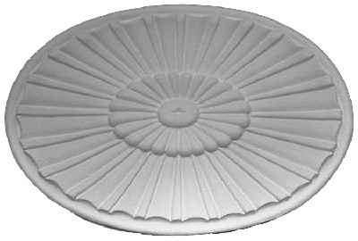 Oval cast plaster applique featuring concentric sunbursts