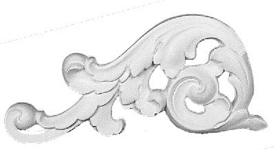 Scrolling acanthus leaf in cast plaster LEFT Applique CRA70-L
