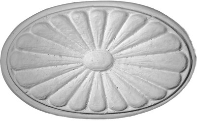 Applique featuring an oval shape sunburst pattern CRA88 - cast plaster - ready to finish