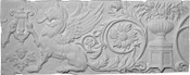 Applique CRA91.  Decorative Cast Plaster Panel Plaque featuring a winged Sphinx, florals, small cherub face and some other decorative effects