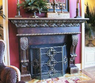 Design Inspiration! Custom mantel built with our B45 Corbel Brackets, DM729 Crown Molding and DM368 Rope Molding