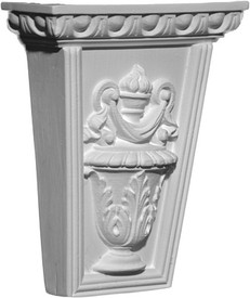 A classic corbel bracket, small, featuring acanthus wrapped urn and a flowing scarf