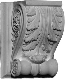 A classic small corbel bracket style featuring a large acanthus leaf and a bottom scroll