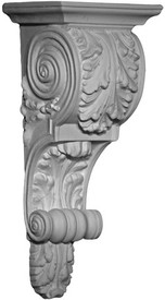 A Classic Corbel Bracket featuring acanthus leaves and rounded scroll details - Small