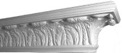Detailed view of our acanthus leaf mantel shelf, in paintable gypsum