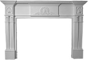Decorative Cast Stone Mantel with centered shell and acanthus leaf styling