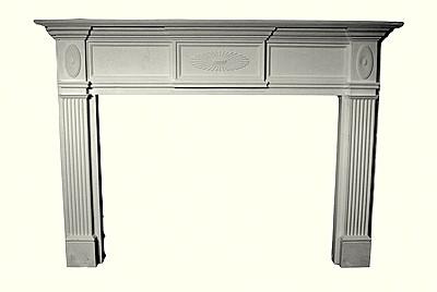 Decorative Cast Stone Mantel - Sunburst emblems