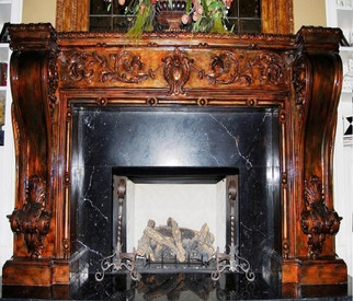 The ornate cast mantel MT1009 takes on truly unique character when faux finished with with copper and brass colors