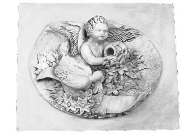 Winged Glory A1 cast plaster angel applique
