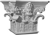This angular top, square cast Roman Corinthian column capital features acanthus leaves and small top volutes