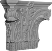 A rectangular cast capital with crisp acanthus leaves, a blooming flower, and corner volutes. Corinthian
