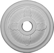 Ceiling Medallion features 4 Acanthus Leaves and Classic Grooves from the center.