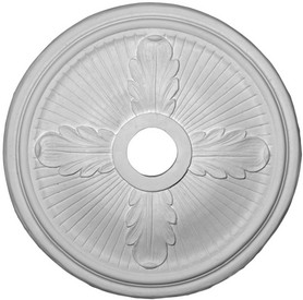 """Ceiling Medallion features 4 Acanthus Leaves and Classic Grooves from the center.  22 1/2"""""""