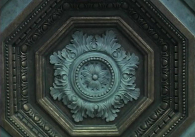 Octagonal dome with acanthus leaf medallion-like center, featuring egg and dart molding, dentil molding and a beaded perimeter