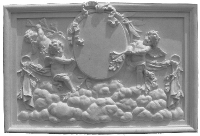 Cast Plaster Panel featuring Cherubs, Clouds, Vines and Bows