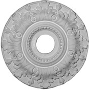 """15"""" Medallion featuring lush acanthus leaves and a beaded central ring"""