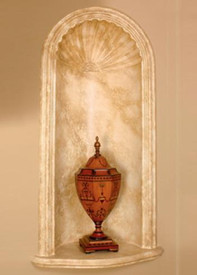 Cast Plaster Niche N5.  Greek Shell. Faux Marble finish