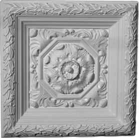 "Ornate Plaster Ceiling Tile.  Acanthus and leaf patterns. 24"" x 24"""