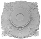 """20 1/2"""" Square with elaborate acanthus leaf and scrolling patterns. Square and Round details"""