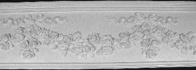 Large Floral Decorative Plaster Molding featuring Roses and Bows
