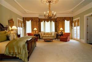 The decorative swags featured in this ceiling medallion are at home in this luxurious Master Bedroom (larger medallion is in this image)