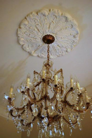 "This 27"" ceiling medallion features lush acanthus leaves"