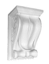 """Classic Palm Leaf and scrolls are featured on this decorative corbel bracket.  15 1/2"""" Tall x 9 1/4"""" Wide x 8"""" Deep"""