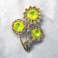 Signed Weiss Lemon Rivoli Sunflower Pin