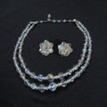 Vintage Double Strand Aurora Borealis Crystal Necklace and earrings set