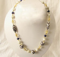White, Blue and Gold Art Glass Bead Necklace