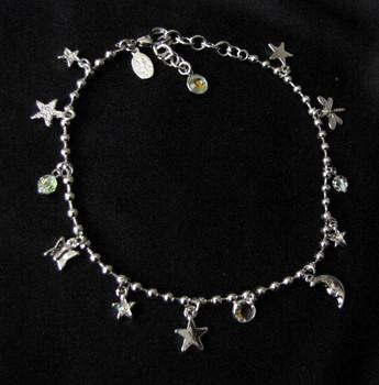 Vintage Kirks Folly Moon and Stars ankle bracelet