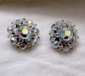 Vintage Aurora Borealis Crystal Clip Earrings