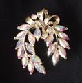 vintage aurora borealis horseshoe brooch