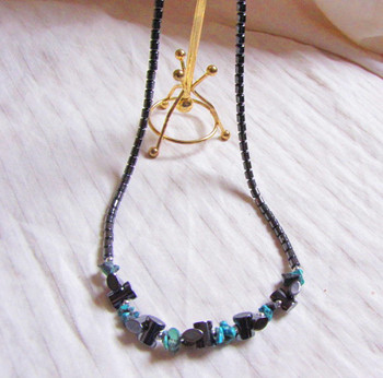 Hematite and Turquoise Necklace