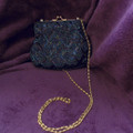 Vintage Navy Beaded Handbag