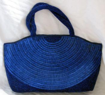 Navy Blue Magid Beaded Handbag