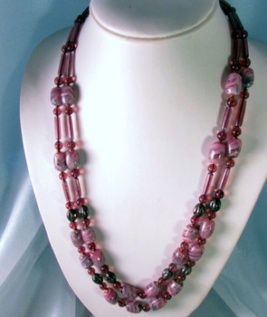Purple Art Glass beads double strand necklace