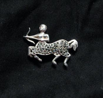 Vintage Signed ROMA Marcasite Centaur Pin / Brooch