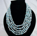 Multi-Strand Seed Pearl and turquoise chip Necklace