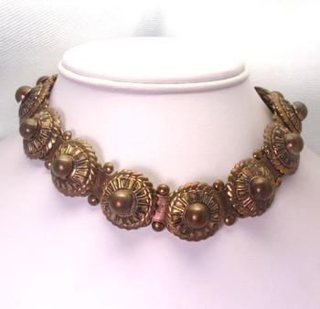 Vintage Brass Book Chain Choker Necklace