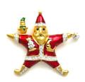 "Kenneth Jay Lane retired Franklin Mint ""Jewels of Christmas"" Santa Pin"