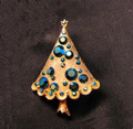 Vintage Weiss Blue AB Rhinestone Christmas Tree Pin