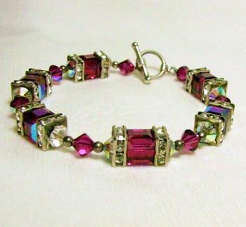 Fuschia Swarovski Crystal Toggle Bracelet
