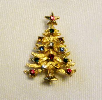 Signed vintage Eisenberg Ice Christmas Tree Pin