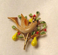 Vintage signed ART Partridge in a Pear Tree Pin