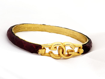 "VINTAGE GUCCI Snakeskin ""GG"" Logo Bangle Bracelet"