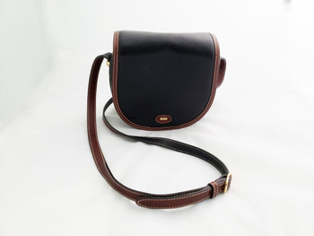 Vintage Bally Black and Brown Leather Handbag.