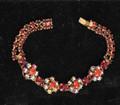 Vintage Unsigned Weiss Red AB Rhinestone Bracelet