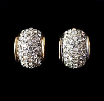 Designer Joan Rivers Crystal Clip Earrings