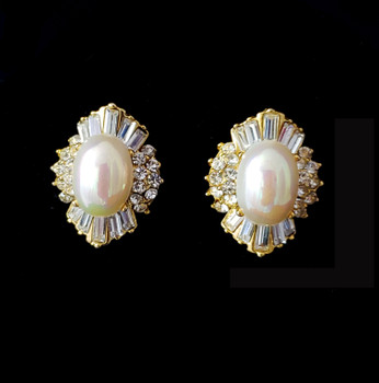 Faux pearl and crytal rhinestone clip earrings - front